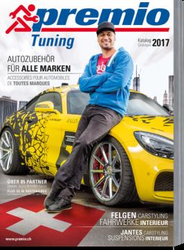 Titel des aktuellen Premio Tuning Katalog: Pierre Dingsbums lehnt an gelb schwarem Auto
